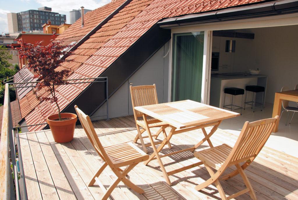 Terras met uitgang van 2 verdiepingen